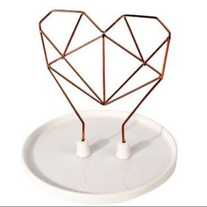 🌸 WIRE HEART CERAMIC JEWELRY HOLDER
